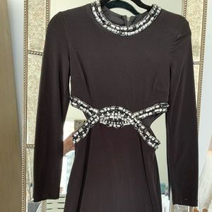Cocktail dress with cutout sides, embellished